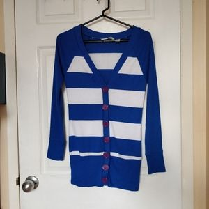 Derek Heart | striped long cardigan with pockets